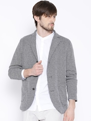 H.E. by MANGO Navy & Off-White Single-Breasted Casual Blazer