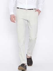 H.E. by MANGO Off-White Linen Casual Trousers