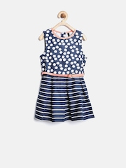 United Colors of Benetton Girls Navy Printed Fit and Flare Dress