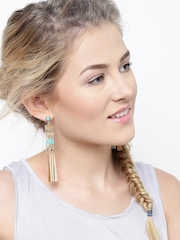 Lyla Loves Gold-Toned & Green Multistranded Drop Earrings