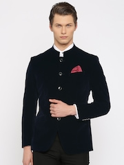 INVICTUS Navy Velvet Slim Fit Single-Breasted Formal Blazer