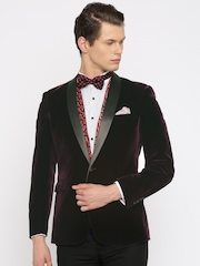 INVICTUS Dark Purple Single-Breasted Slim Fit Formal Blazer
