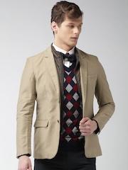 INVICTUS Khaki Slim Fit Single-Breasted Blazer