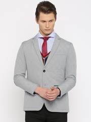 INVICTUS Grey Quilted Single-Breasted Slim Fit Formal Blazer