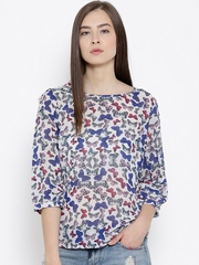 Sera Off-White & Blue Butterfly Print Sheer Top