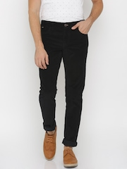 Indian Terrain Black  Brooklyn Fit Corduroy Trousers