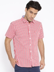 Indian Terrain Red Checked Slim Fit Casual Shirt