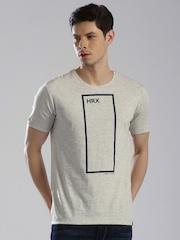 HRX by Hrithik Roshan Grey Melange Printed T-shirt