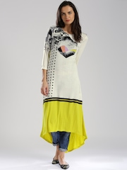 W Off-White Yellow Printed High-Low A-Line Kurta