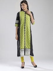W Charcoal Grey & Lime Green Patterned Kurta