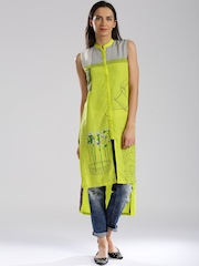W Lime Green Printed High-Low Kurta