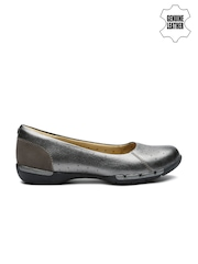 Clarks Women Gunmetal-Toned Leather Flat Shoes