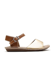 Clarks Women Muted Gold-Toned & Brown Leather Flats