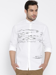 Wills Lifestyle White Printed Slim Casual Shirt