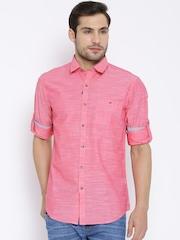Wills Lifestyle Pink Slim Casual Shirt