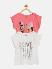 YK Girls Pack of 2 Printed Tops