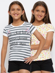 YK Girls Multicoloured Pack of 2 T-shirts