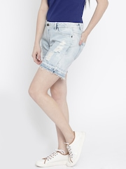 Vero Moda Women Blue Washed Distressed Denim Shorts