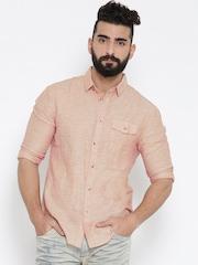 Jack & Jones Peach-Coloured Linen Slim Casual Shirt