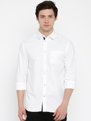 Jack & Jones White Patterned Slim Fit Casual Shirt