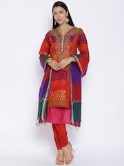 BIBA Multicoloured Polyester Churidar Kurta with Dupatta