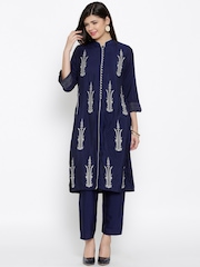 BIBA Navy Embroidered Churidar Kurta with Dupatta