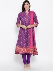 BIBA Purple Bandhani Print Anarkali Churidar Kurta with Dupatta