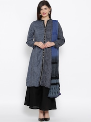 BIBA Black Striped Anarkali Kurta with Palazzo Trousers & Dupatta