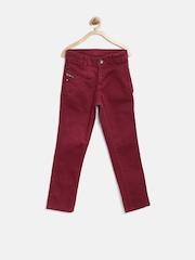 Gini & Jony Boys Maroon Slim Fit Jeans
