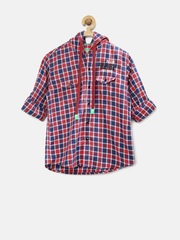 Palm Tree by Gini & Jony Boys Red Checked Hooded Shirt