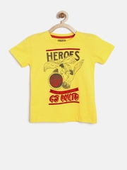 GJ Unltd Jeans by Gini & Jony Boys Yellow Printed T-shirt