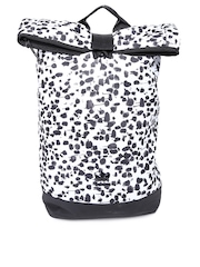 Adidas Originals Women White & Black Printed Roll Up Backpack