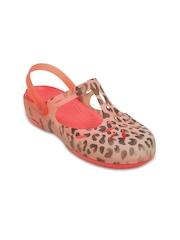 Crocs Women Peach-Coloured Printed Clogs