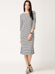 ETHER Navy & White Striped Jersey Dress