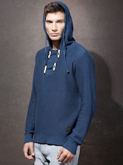RDSTR Men Blue Hooded Self-Design Sweater