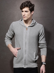 RDSTR Grey Patterned Hooded Sweater