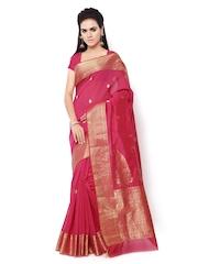 Inddus Magenta Banarasi Cotton Silk Traditonal Saree