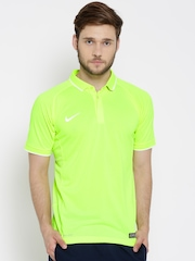 Nike Fluorescent Green AS EM TS Hitmark Polyester Cricket Polo T-shirt