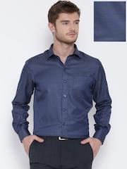 John Players Navy Patterned Slim Formal Shirt