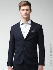 INVICTUS Navy Slim Fit Knitted Single-Breasted Blazer