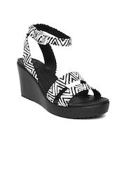 Crocs Women White & Black Printed Wedges