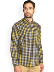 Blackberrys Blue & Yellow Checked Slim Fit Casual Shirt