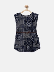 Gini & Jony Girls Navy Printed Fit & Flare Dress