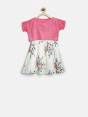Gini & Jony Girls White Floral Print Fit & Flare Dress with Crop Top