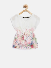 Gini & Jony Girls Off-White Polyester Floral Print Fit & Flare Dress