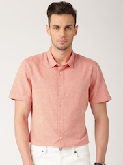 ETHER Coral Red Slim Casual Shirt