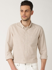 ETHER Beige & White Checked Linen Casual Shirt