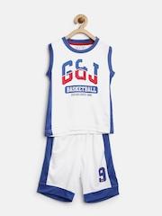 Gini & Jony Boys White Printed Clothing Set
