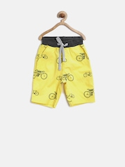 Gini & Jony Boys Yellow Bicycle Print Shorts