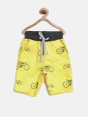 Gini & Jony Boys Yellow Bicycle Print Shorts